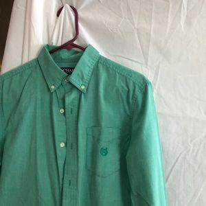 Green men's button up